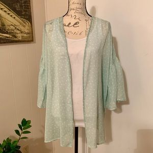 Sweaters - Mint Bell Sleeve Polkadot Kimono